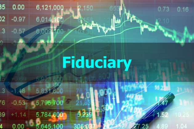 "An image of stock market charts with the word ""fiduciary"" written across them."